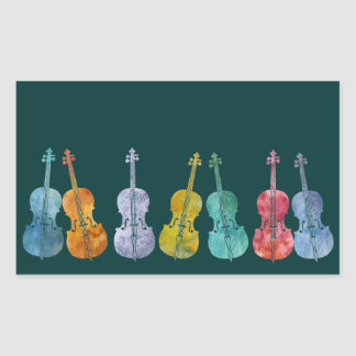 Multicolored Cellos Rectangular Sticker