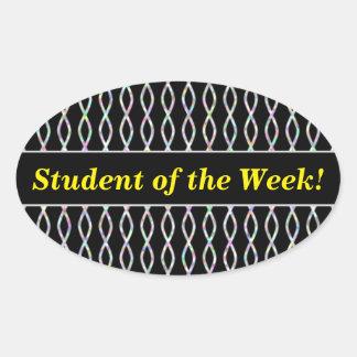 Multicolored Chain-Like Pattern (Black Background) Oval Sticker