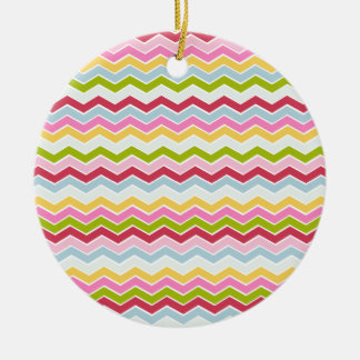 Multicolored chevron zigzag christmas ornament
