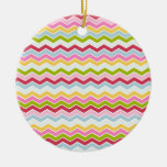 Multicolored chevron zigzag round ceramic decoration