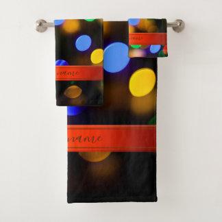 Multicolored Christmas lights. Add text or name. Bath Towel Set