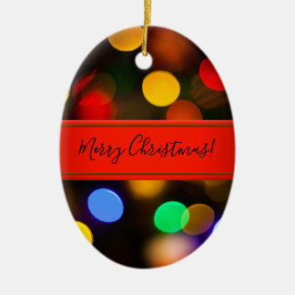 Multicolored Christmas lights. Add text or name. Christmas Ornament