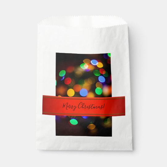 Multicolored Christmas lights. Add text or name. Favour Bags