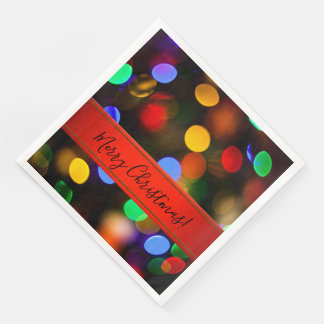 Multicolored Christmas lights. Add text or name. Paper Napkins