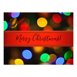 Multicolored Christmas lights. Add text or name. Photo Print