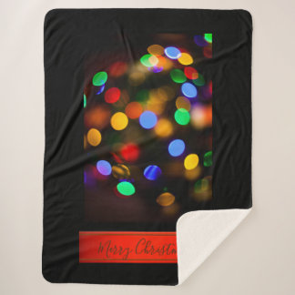 Multicolored Christmas lights. Add text or name. Sherpa Blanket
