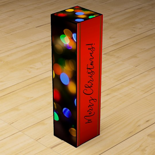 Multicolored Christmas lights. Add text or name. Wine Gift Box