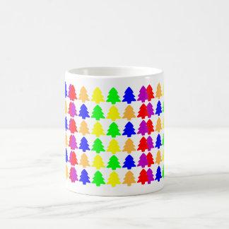 Multicolored Christmas Trees Basic White Mug