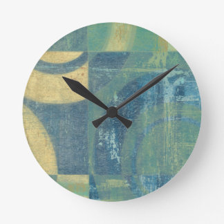 Multicolored Circles & Panels Round Clock