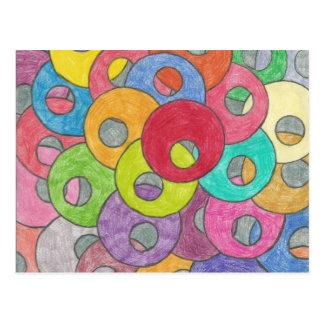 Multicolored circles postcard