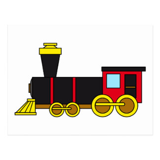 Multicolored Classic Train Locomotive Steam Engine Post Cards