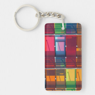 Multicolored commercial building detail key ring