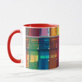 Multicolored commercial building detail mug
