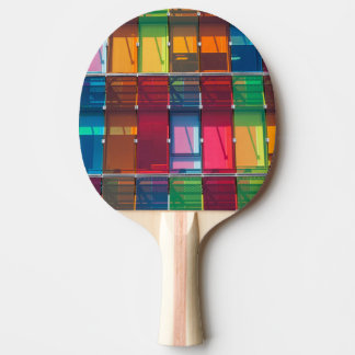 Multicolored commercial building detail ping pong paddle