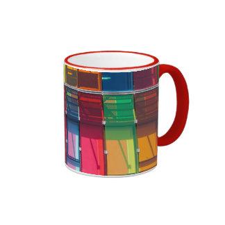 Multicolored commercial building detail ringer mug
