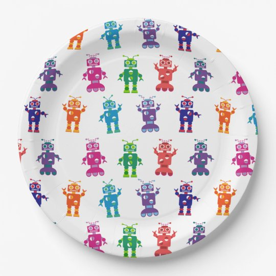 Multicolored Crazy Robot Kids Birthday Party Paper Plate