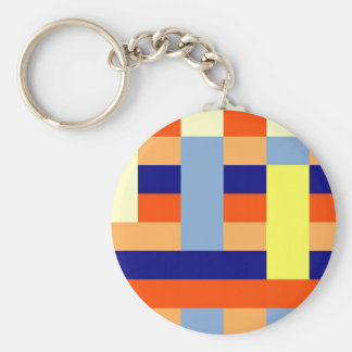 Multicolored cubes basic round button key ring
