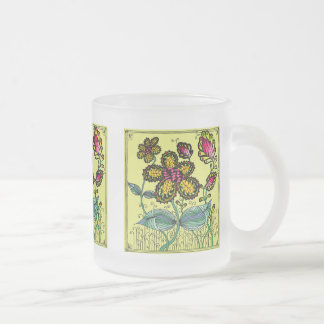 Multicolored cup with abstract motive for flower