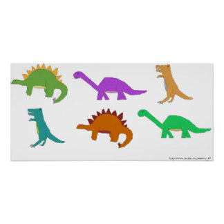 Multicolored Dinosaurs poster