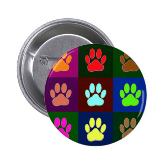 Multicolored Dog Paw Print Pattern 6 Cm Round Badge