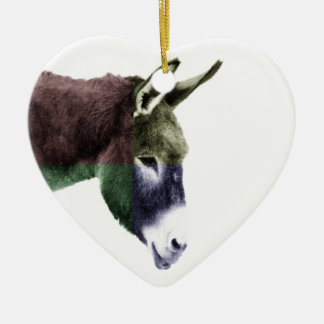 Multicolored Donkey Western Two-sided Ceramic Heart Decoration