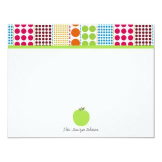 Multicolored Dots Green Apple Personalized Teacher 11 Cm X 14 Cm Invitation Card