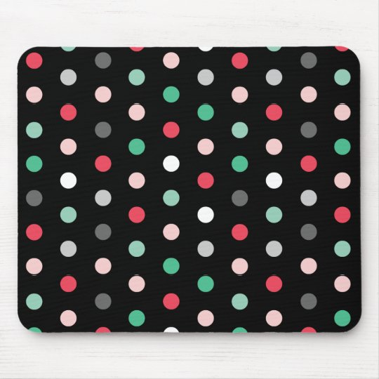 Multicolored Dots on Black Mouse Mat