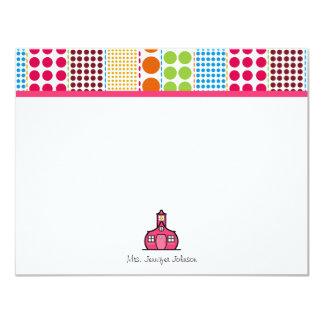 """Multicolored Dots Schoolhouse Personalized Teacher 4.25"""" X 5.5"""" Invitation Card"""