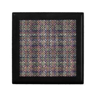 Multicolored Ethnic Check Seamless Pattern Small Square Gift Box