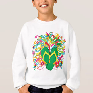 Multicolored Flip flops over summer floral backgro Sweatshirt