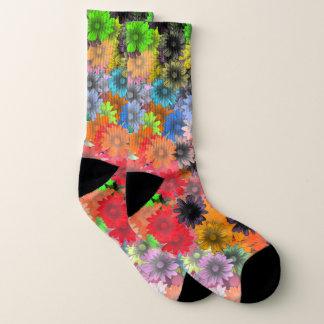 Multicolored floral flower pattern socks