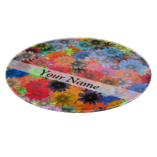 Multicolored floral pattern cutting board