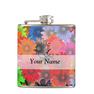Multicolored floral pattern flasks