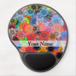 Multicolored floral pattern gel mouse pad