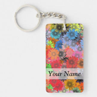 Multicolored floral pattern key ring
