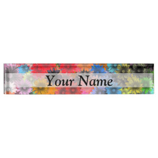 Multicolored floral pattern nameplate