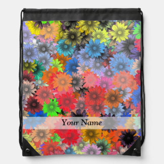 Multicolored floral pattern drawstring backpack