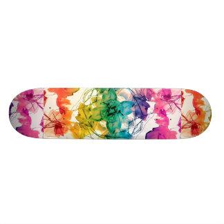 Multicolored Floral Swirls Decorative Design 20.6 Cm Skateboard Deck