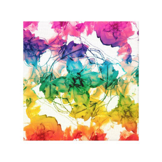 Multicolored Floral Swirls Decorative Design Gallery Wrapped Canvas