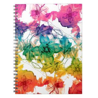 Multicolored Floral Swirls Decorative Design Spiral Note Book