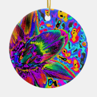 Multicolored flower christmas tree ornament