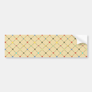 Multicolored Flowers And Square. Geometric Pattern Bumper Sticker