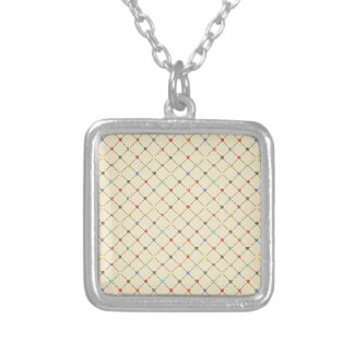 Multicolored Flowers And Square. Geometric Pattern Pendant