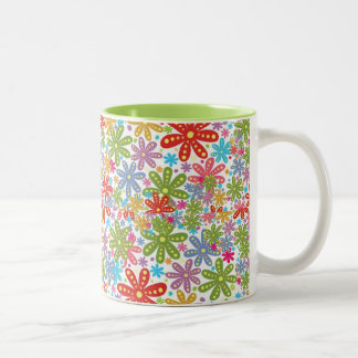Multicolored Flowers Design. Floral Pattern Two-Tone Mug