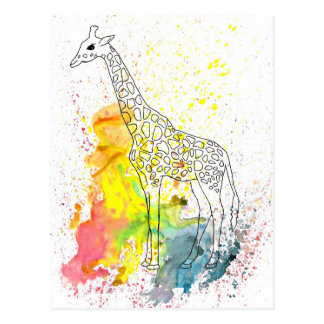 Multicolored Funky Giraffe (K.Turnbull Art) Postcard