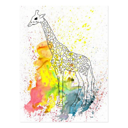 Multicolored Funky Giraffe (K.Turnbull Art) Postcards