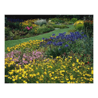 Multicolored garden with lawn path full color flyer