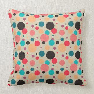 Multicolored Geometric Polka Dot Pattern Cushion