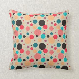 Multicolored Geometric Polka Dot Pattern Throw Pillow