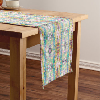Multicolored Geometrical Abstract Pattern Short Table Runner